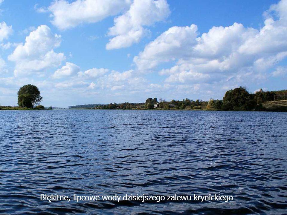 Błękitne, lipcowe wody dzisiejszego zalewu krynickiego
