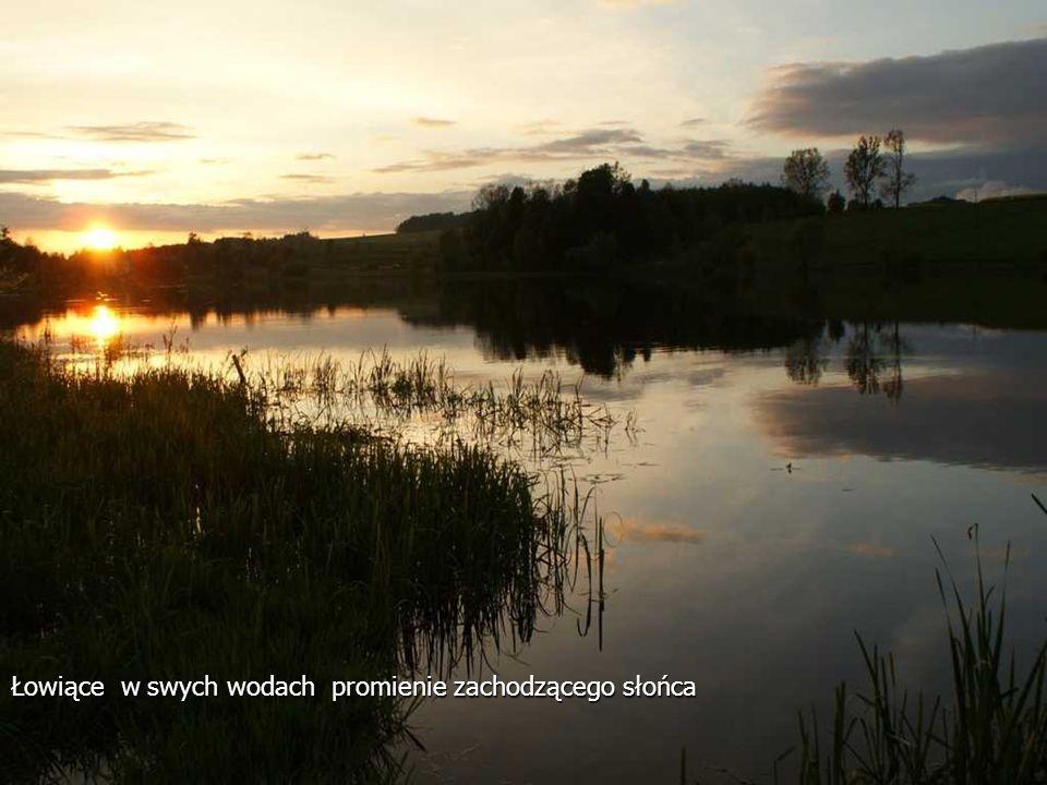 Łowiące w swych wodach promienie zachodzącego słońca