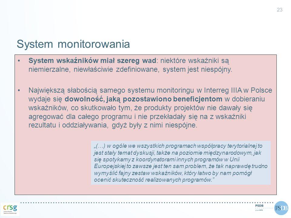 System monitorowania System wskaźników miał szereg wad: niektóre wskaźniki są niemierzalne, niewłaściwie zdefiniowane, system jest niespójny.