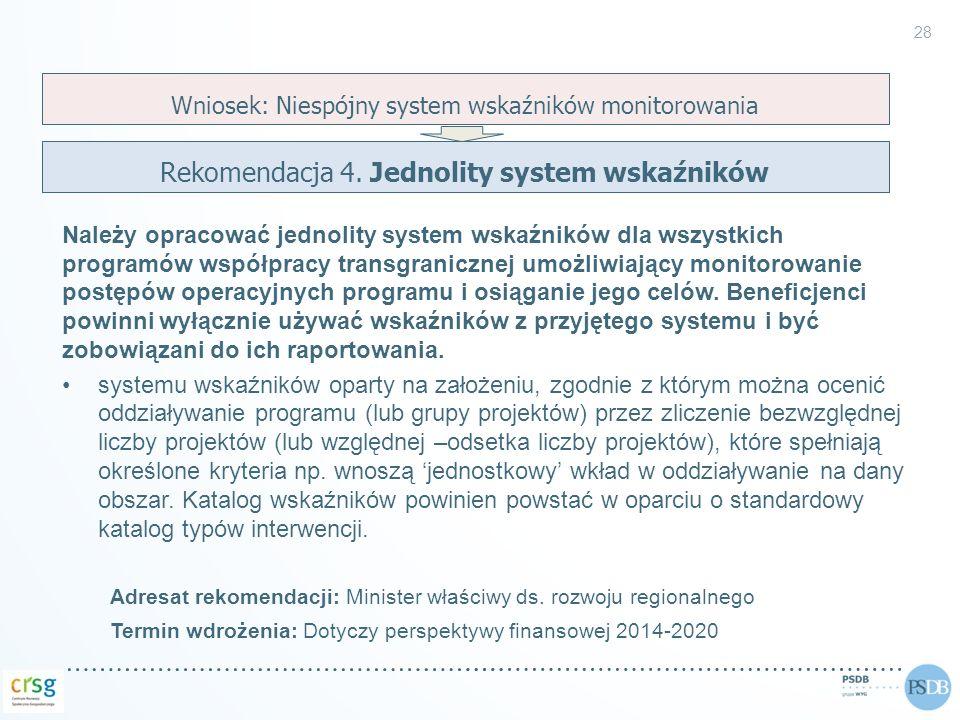 Rekomendacja 4. Jednolity system wskaźników