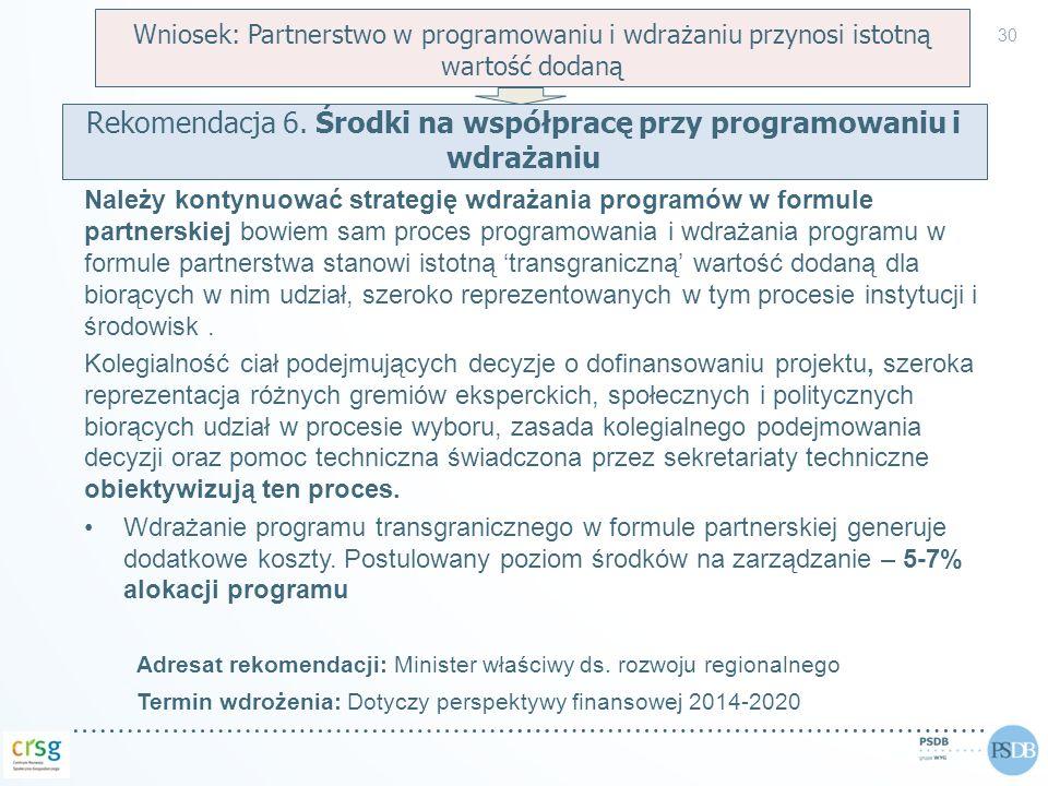 Rekomendacja 6. Środki na współpracę przy programowaniu i wdrażaniu