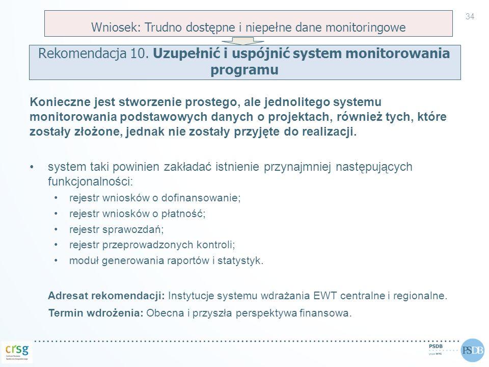 Rekomendacja 10. Uzupełnić i uspójnić system monitorowania programu