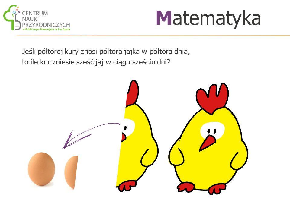 Matematyka Jeśli półtorej kury znosi półtora jajka w półtora dnia, to ile kur zniesie sześć jaj w ciągu sześciu dni