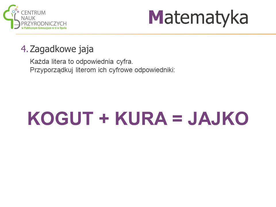 Matematyka KOGUT + KURA = JAJKO Zagadkowe jaja