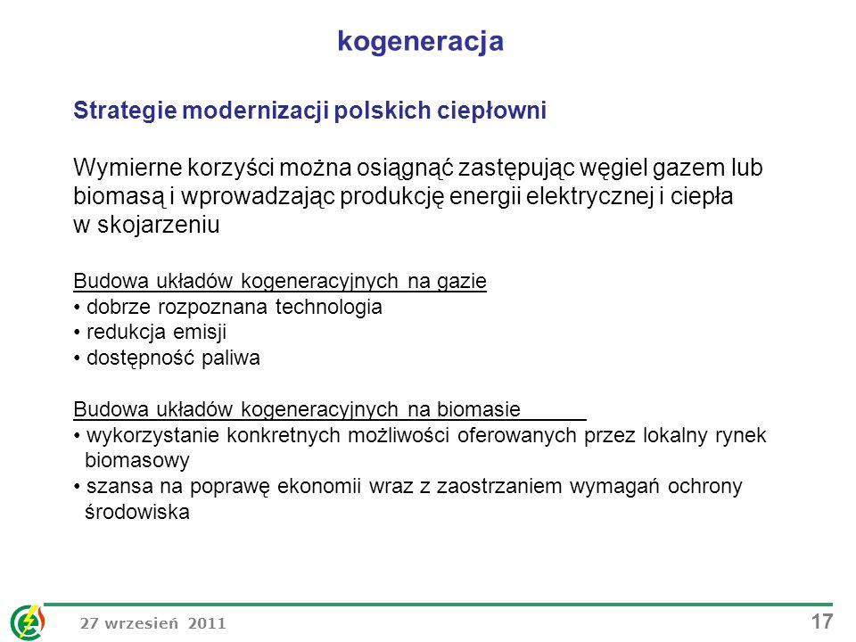 kogeneracja Strategie modernizacji polskich ciepłowni