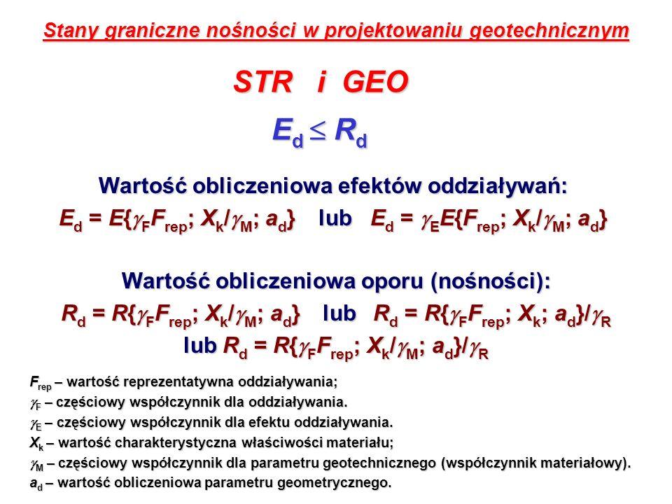 STR i GEO Ed  Rd Wartość obliczeniowa efektów oddziaływań: