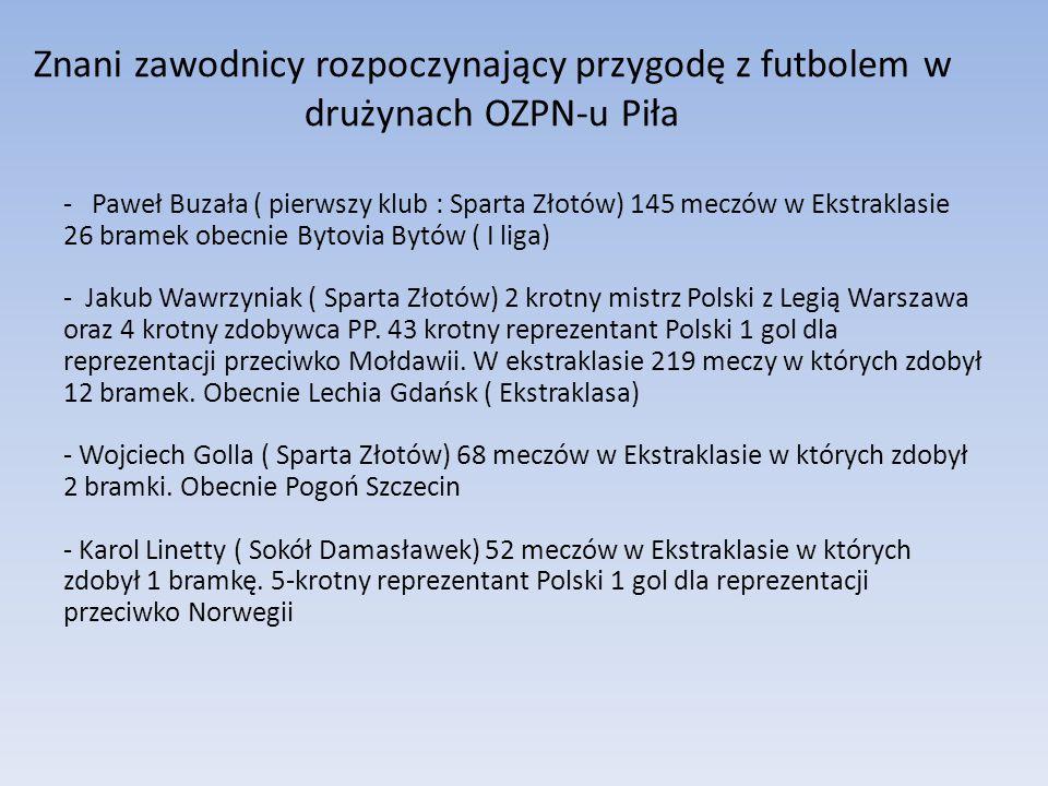 Znani zawodnicy rozpoczynający przygodę z futbolem w drużynach OZPN-u Piła