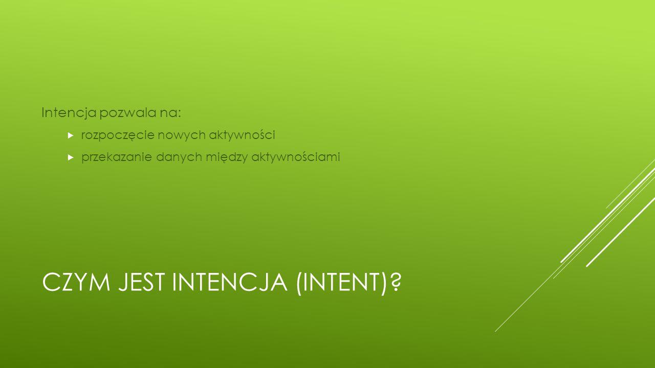 Czym jest Intencja (intent)