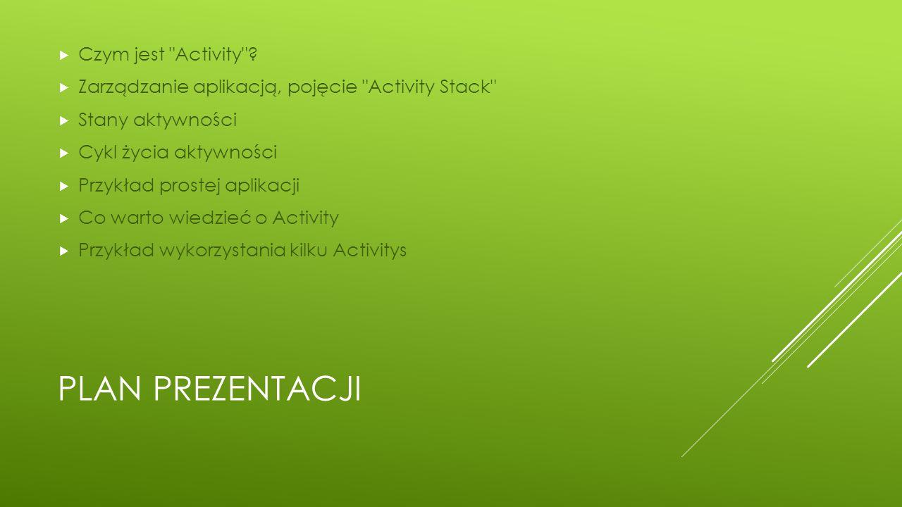Plan prezentacji Czym jest Activity