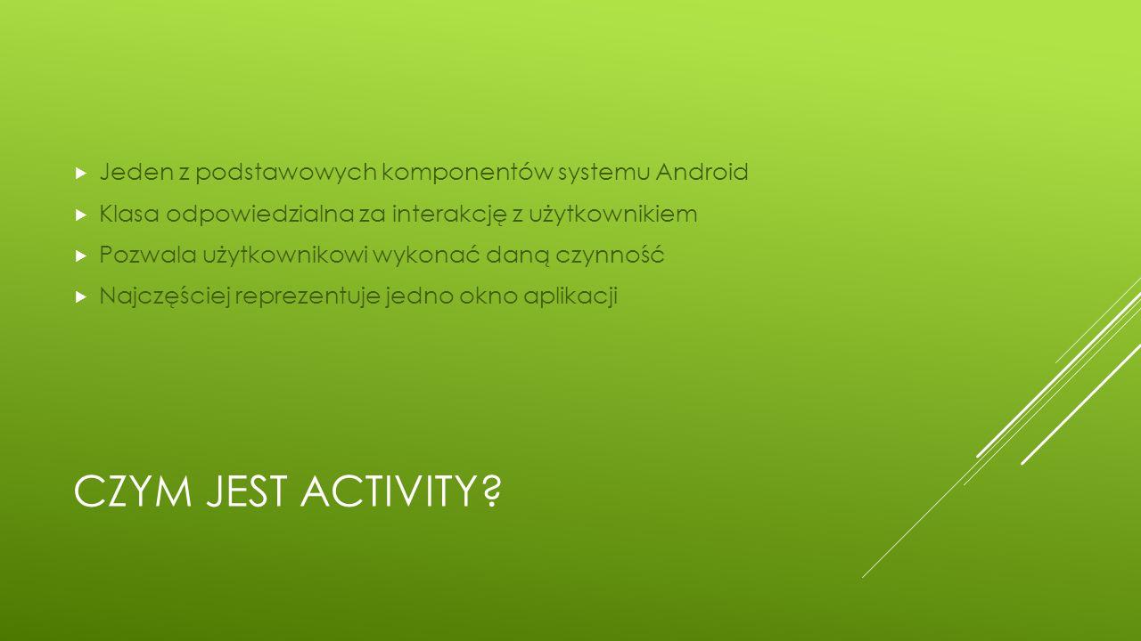 Czym jest activity Jeden z podstawowych komponentów systemu Android