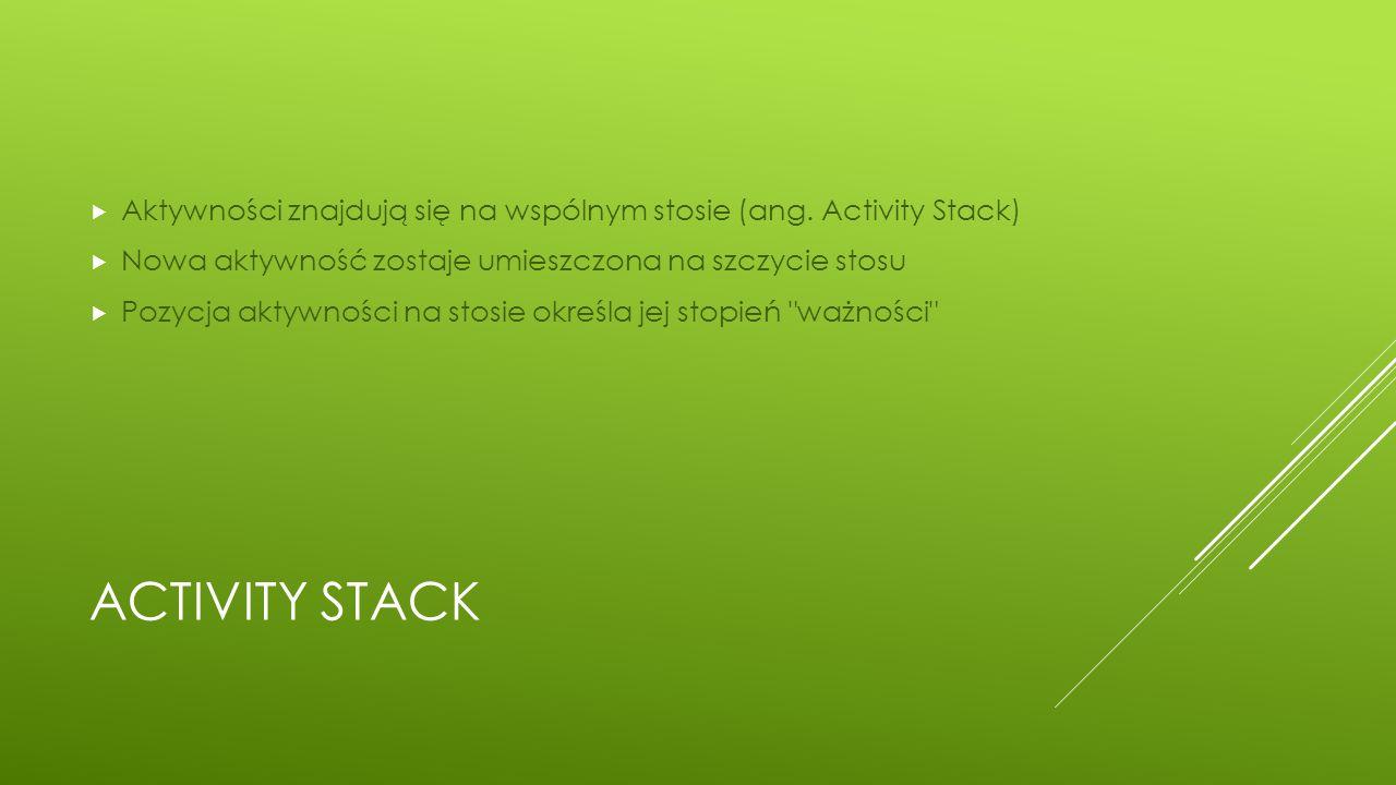 Aktywności znajdują się na wspólnym stosie (ang. Activity Stack)