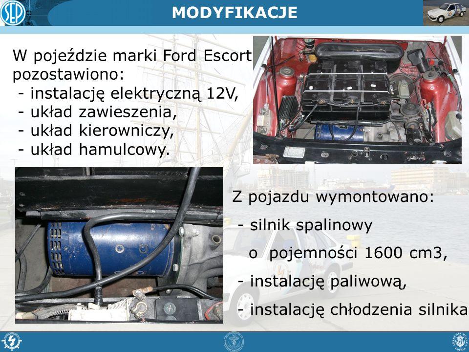 MODYFIKACJE W pojeździe marki Ford Escort pozostawiono: - instalację elektryczną 12V, - układ zawieszenia,