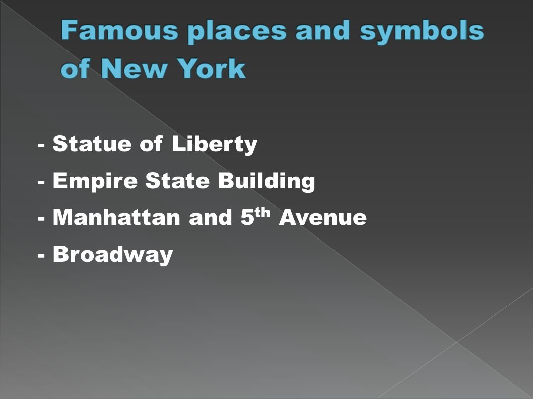 Famous places and symbols of New York