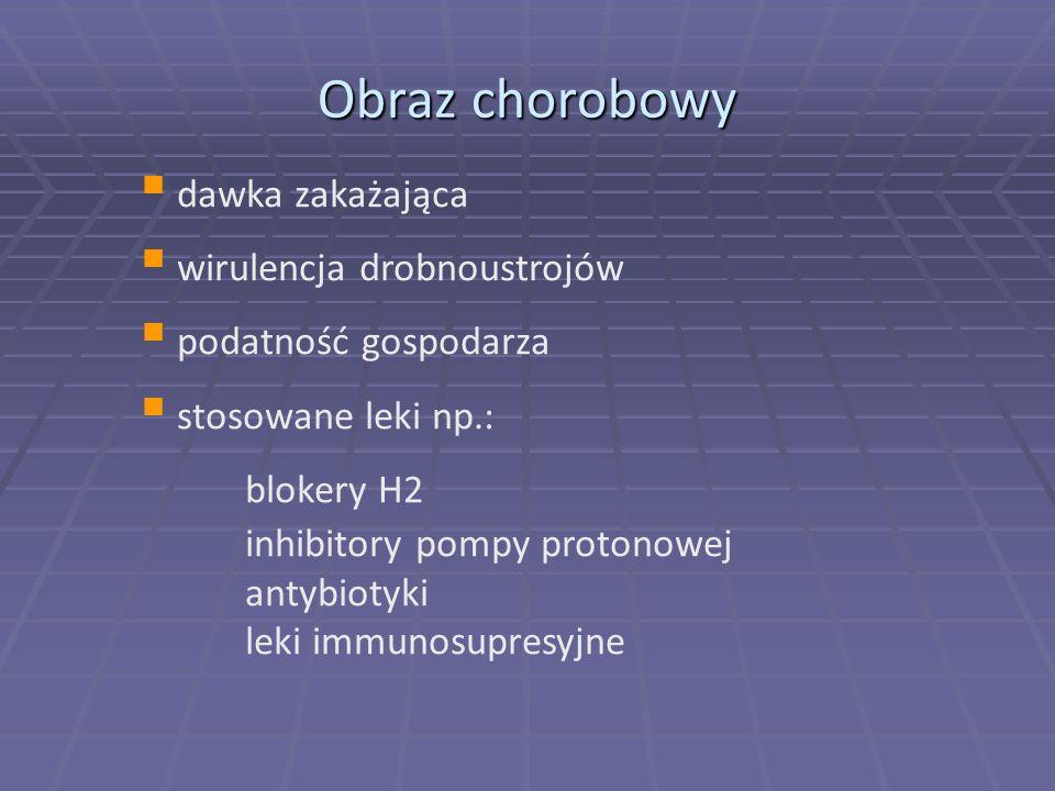Obraz chorobowy dawka zakażająca wirulencja drobnoustrojów