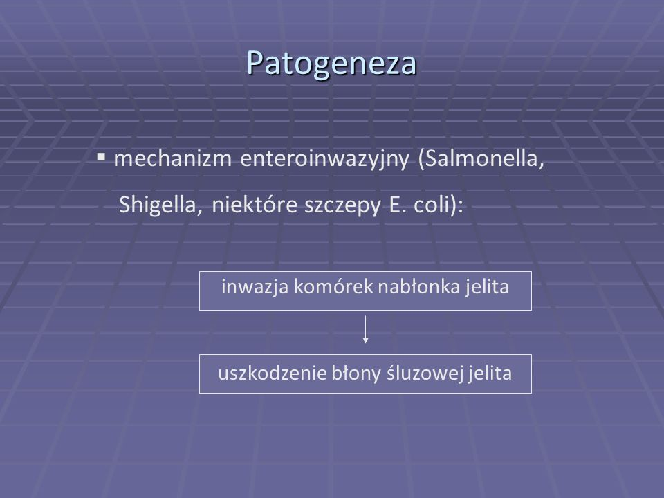 Patogeneza mechanizm enteroinwazyjny (Salmonella,