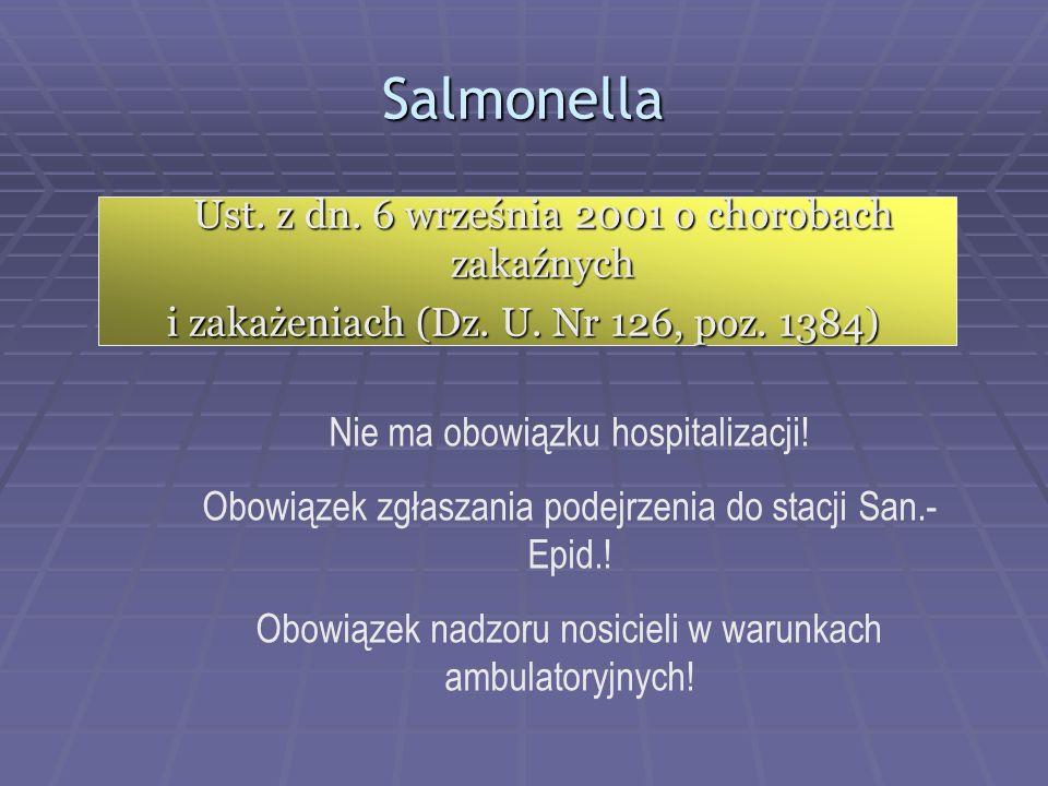 Salmonella Ust. z dn. 6 września 2001 o chorobach zakaźnych i zakażeniach (Dz. U. Nr 126, poz. 1384)