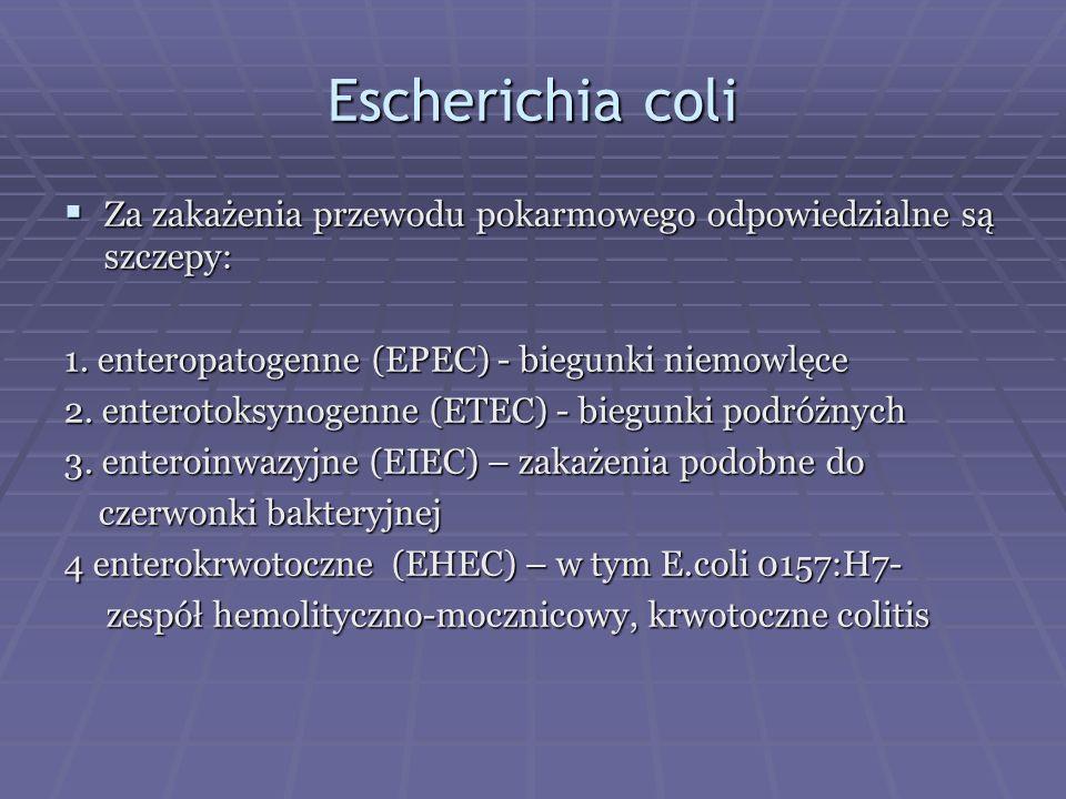 Escherichia coli Za zakażenia przewodu pokarmowego odpowiedzialne są szczepy: 1. enteropatogenne (EPEC) - biegunki niemowlęce.