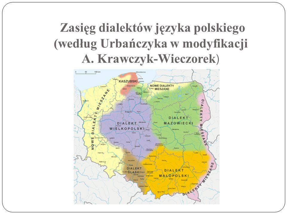 Zasięg dialektów języka polskiego (według Urbańczyka w modyfikacji A