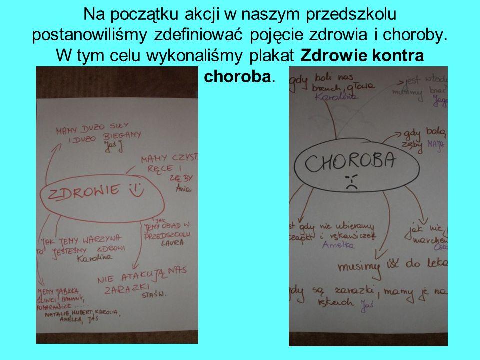 Na początku akcji w naszym przedszkolu postanowiliśmy zdefiniować pojęcie zdrowia i choroby.