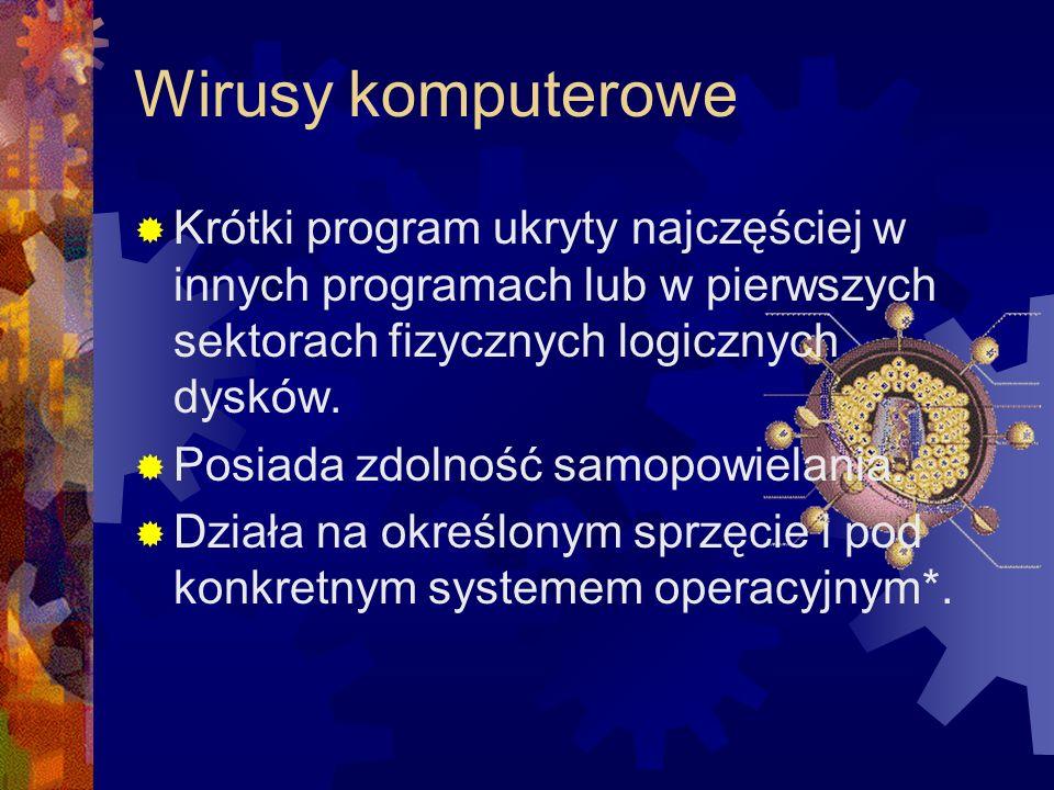 Wirusy komputerowe Krótki program ukryty najczęściej w innych programach lub w pierwszych sektorach fizycznych logicznych dysków.