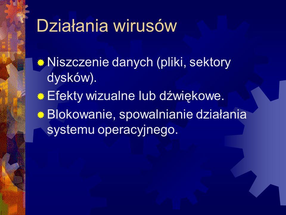Działania wirusów Niszczenie danych (pliki, sektory dysków).