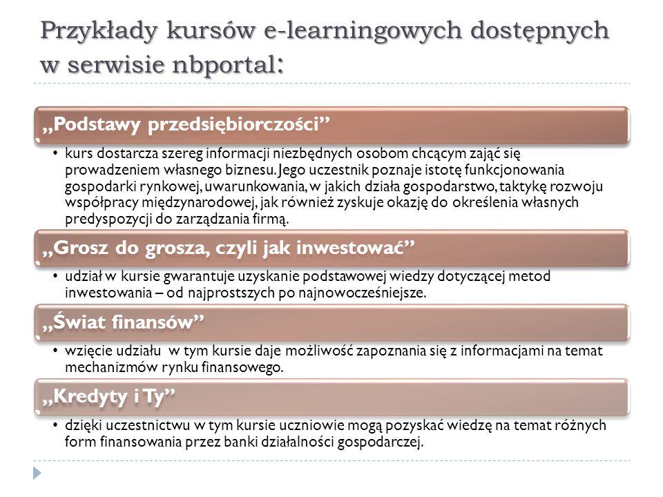 Przykłady kursów e-learningowych dostępnych w serwisie nbportal: