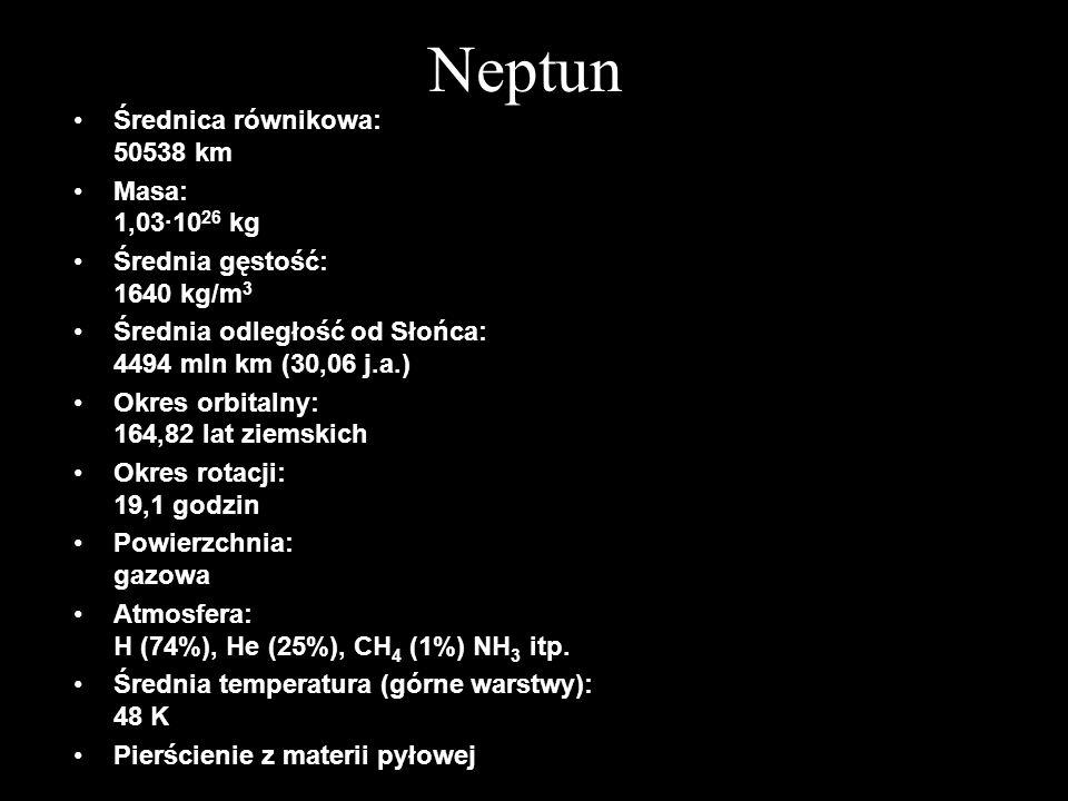 Neptun Średnica równikowa: 50538 km Masa: 1,03·1026 kg