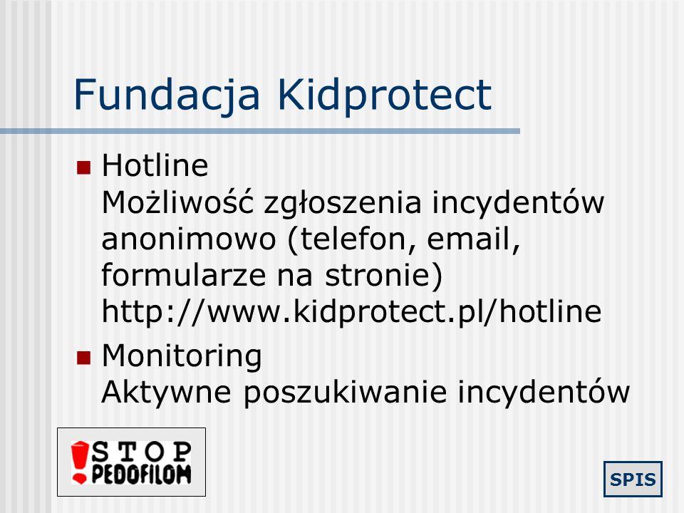 Fundacja KidprotectHotline Możliwość zgłoszenia incydentów anonimowo (telefon, email, formularze na stronie) http://www.kidprotect.pl/hotline.