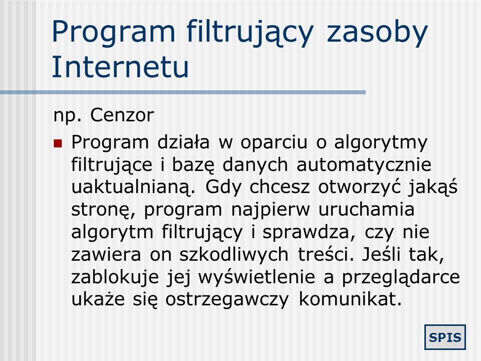 Program filtrujący zasoby Internetu