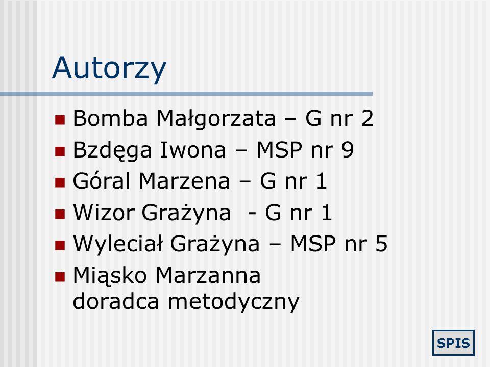 Autorzy Bomba Małgorzata – G nr 2 Bzdęga Iwona – MSP nr 9