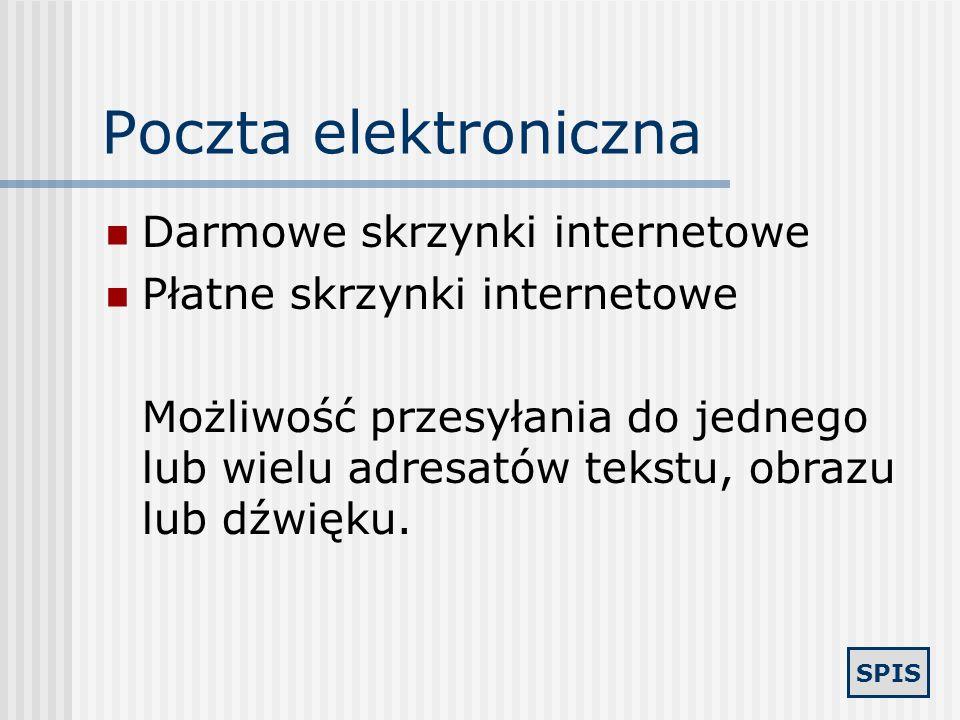 Poczta elektroniczna Darmowe skrzynki internetowe