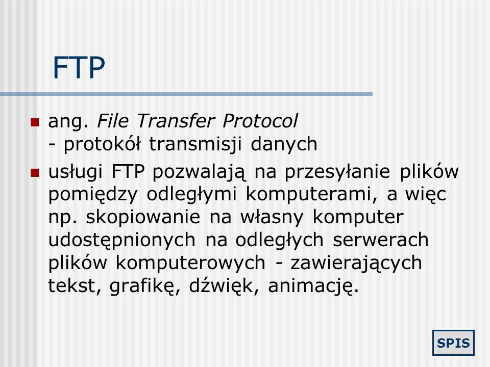 FTP ang. File Transfer Protocol - protokół transmisji danych