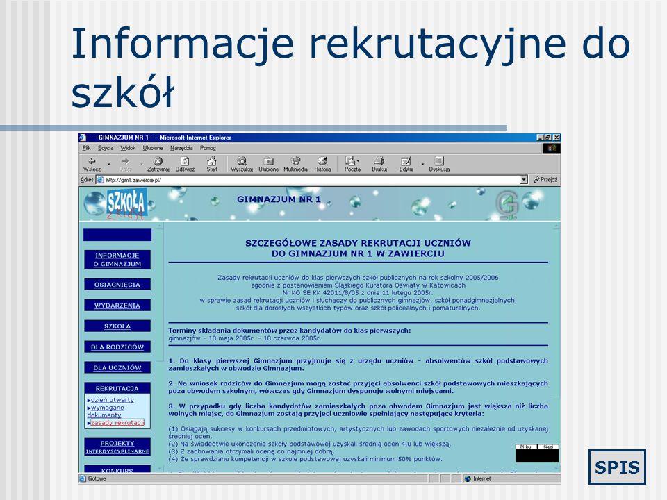 Informacje rekrutacyjne do szkół
