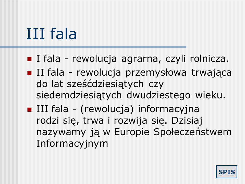 III fala I fala - rewolucja agrarna, czyli rolnicza.
