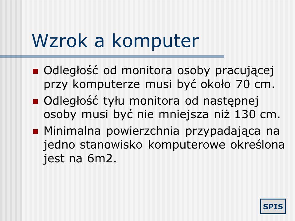 Wzrok a komputer Odległość od monitora osoby pracującej przy komputerze musi być około 70 cm.