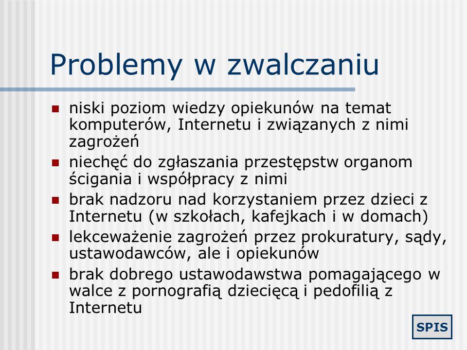 Problemy w zwalczaniu niski poziom wiedzy opiekunów na temat komputerów, Internetu i związanych z nimi zagrożeń.