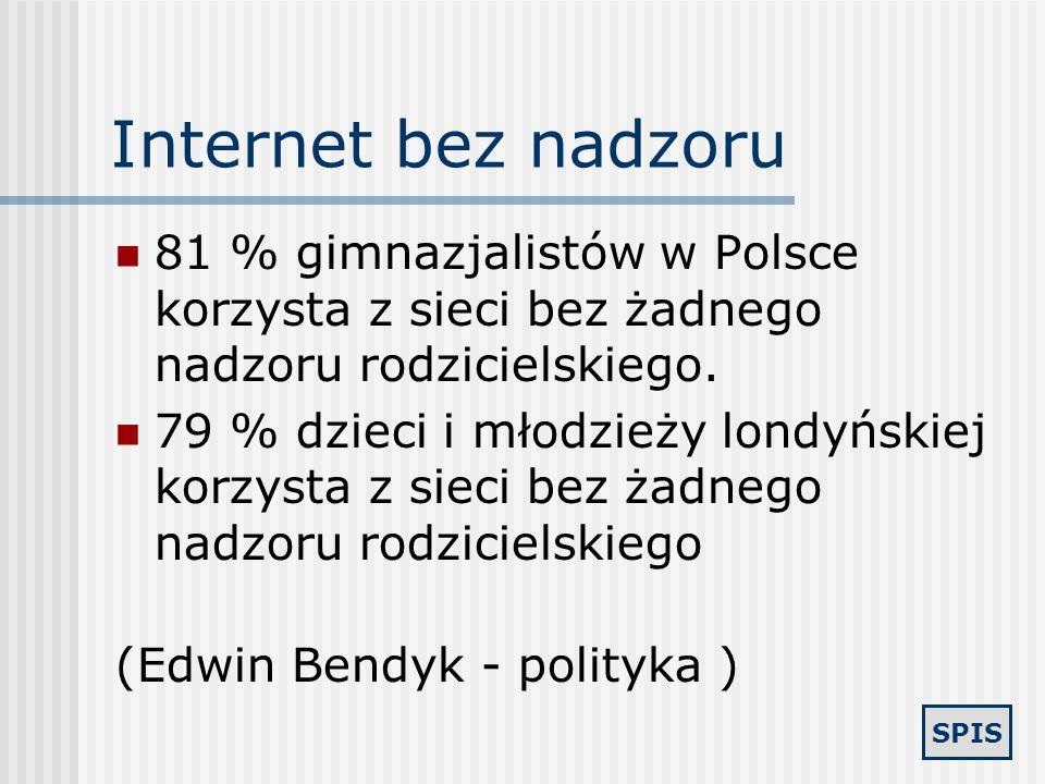Internet bez nadzoru81 % gimnazjalistów w Polsce korzysta z sieci bez żadnego nadzoru rodzicielskiego.