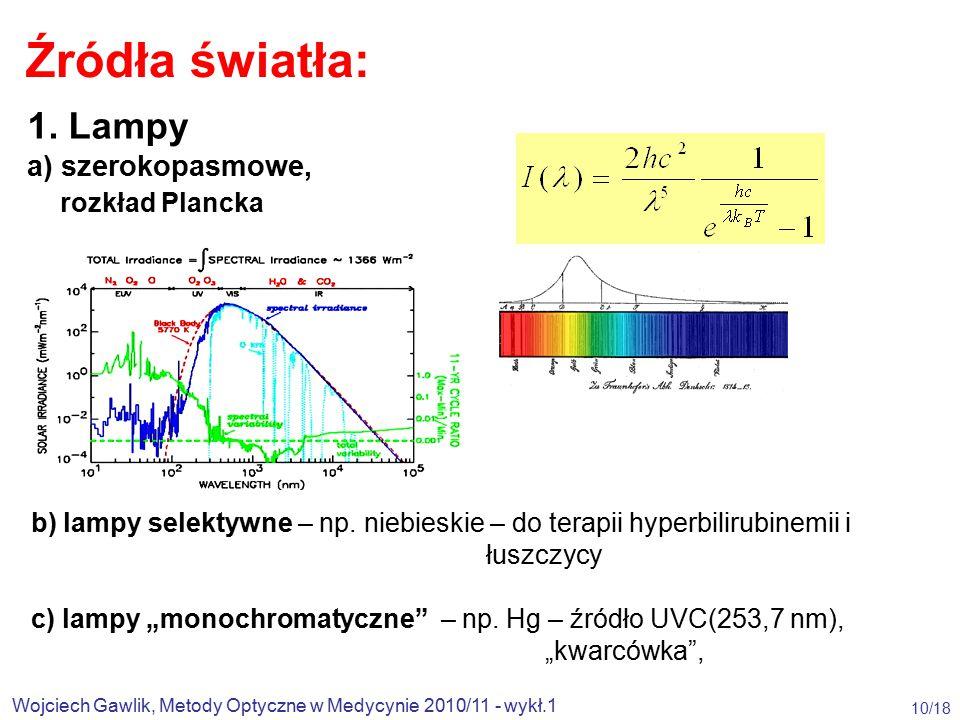 Źródła światła: 1. Lampy a) szerokopasmowe, rozkład Plancka