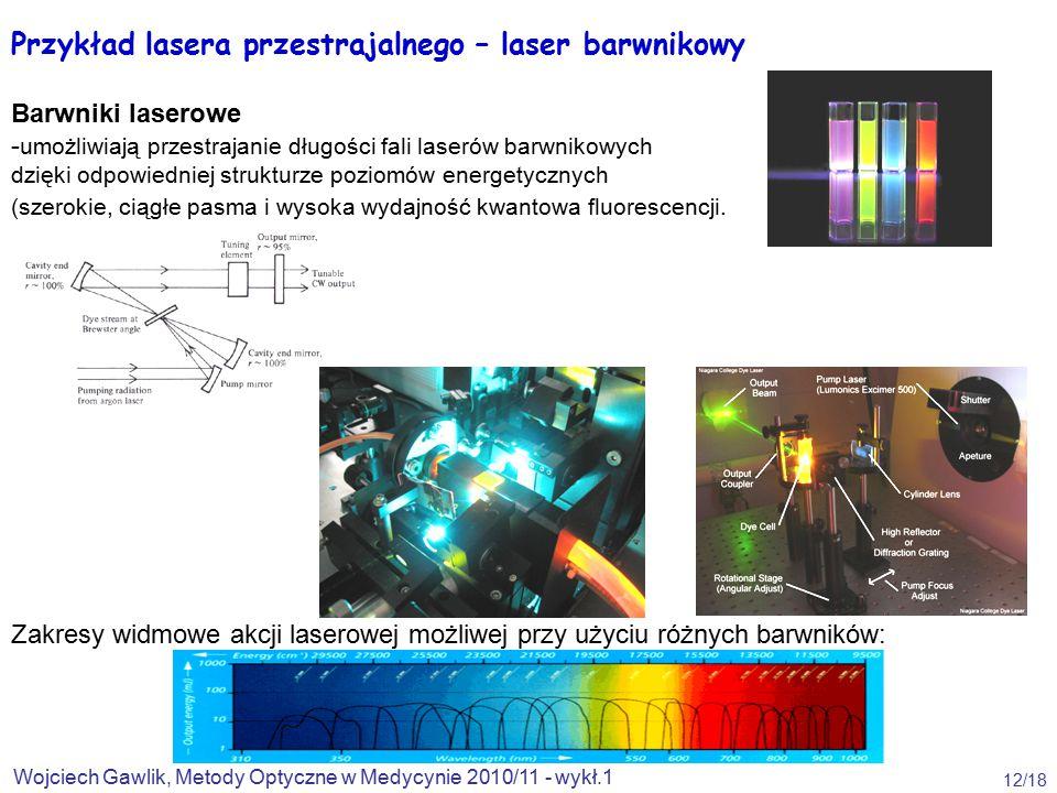 Przykład lasera przestrajalnego – laser barwnikowy