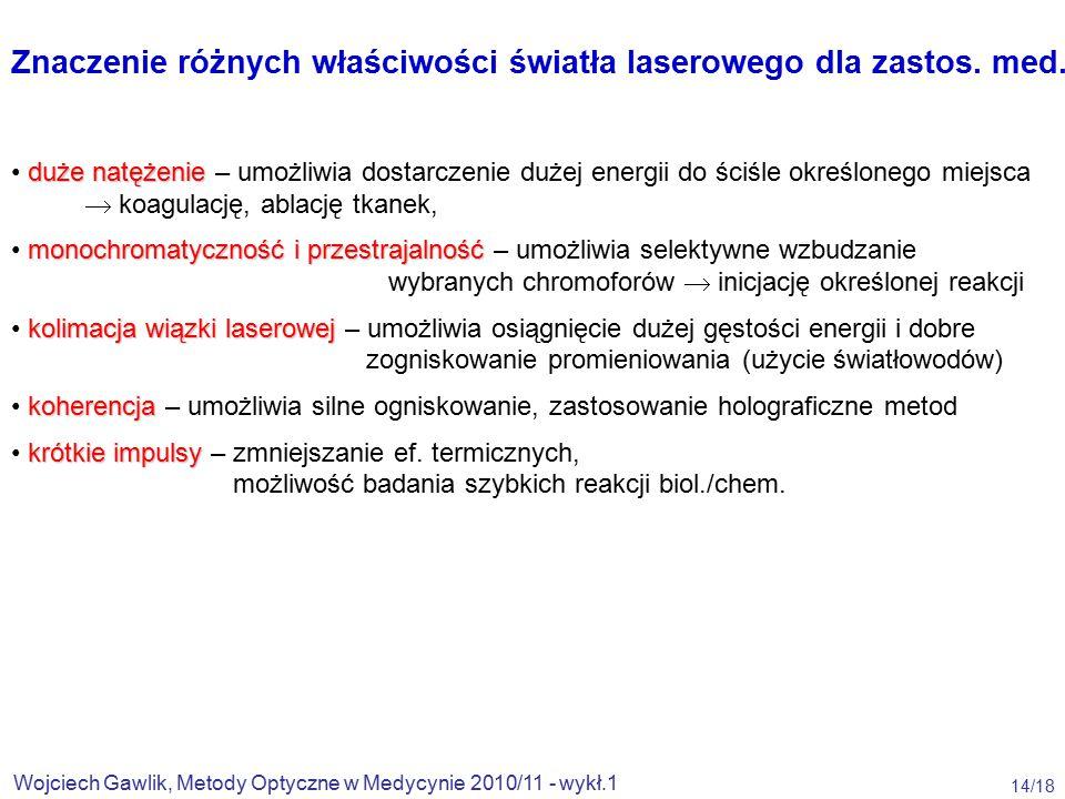 Znaczenie różnych właściwości światła laserowego dla zastos. med.