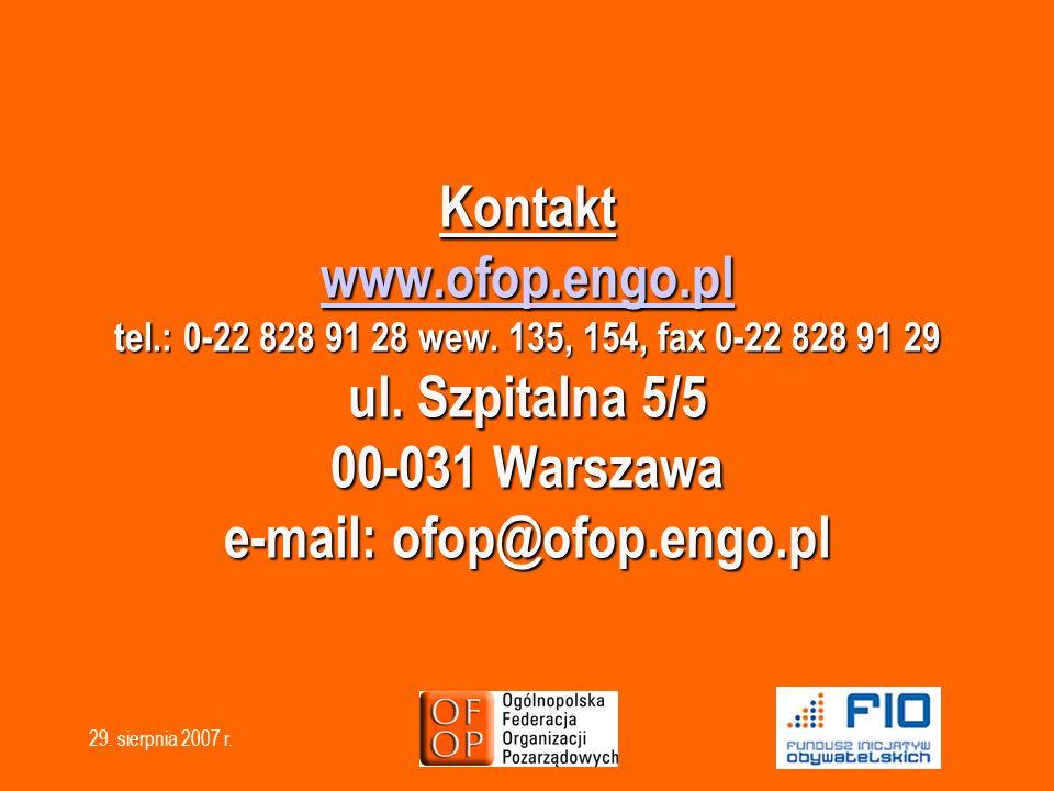 Kontakt www. ofop. engo. pl tel. : 0-22 828 91 28 wew
