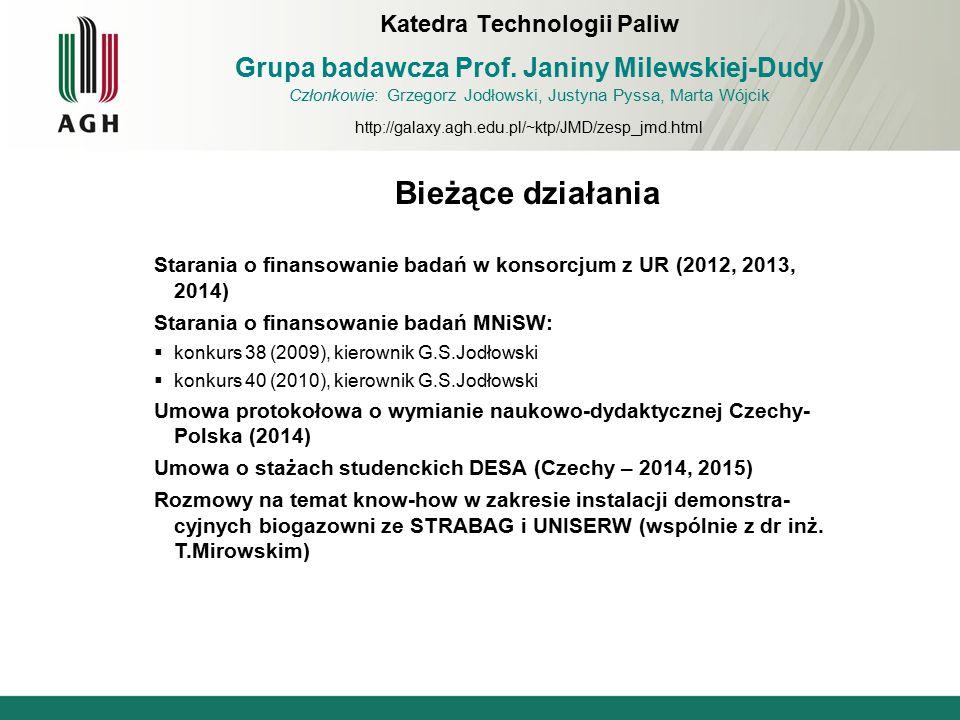 Katedra Technologii Paliw Grupa badawcza Prof