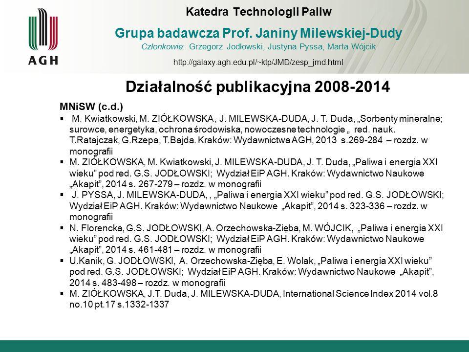 Działalność publikacyjna 2008-2014