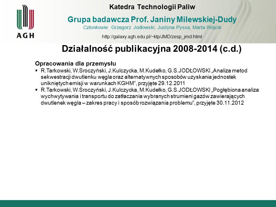 Działalność publikacyjna 2008-2014 (c.d.)