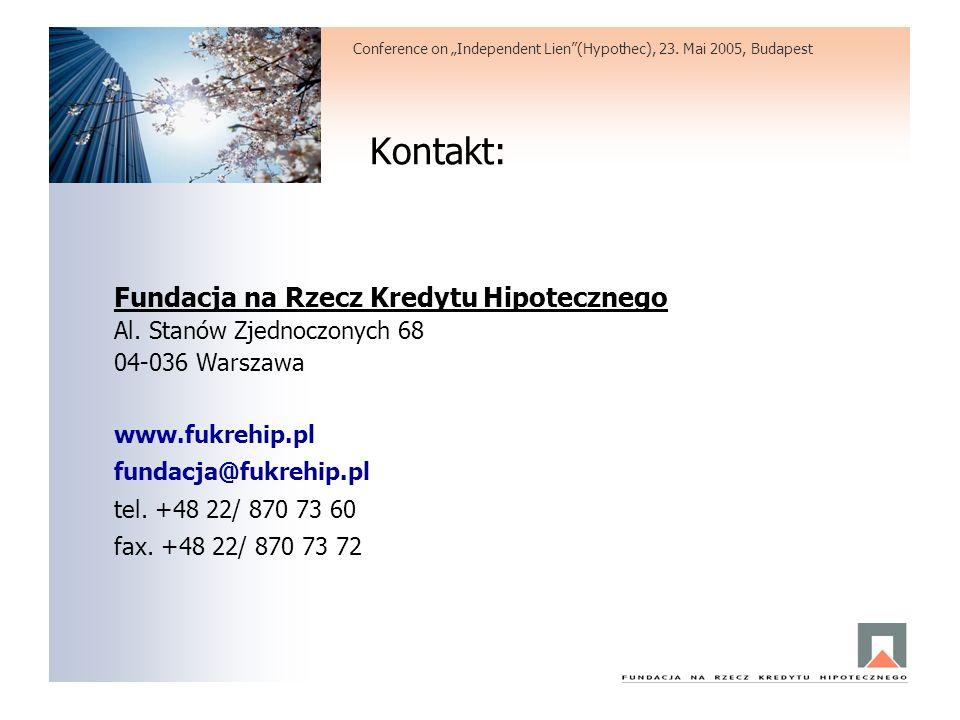 Kontakt: Fundacja na Rzecz Kredytu Hipotecznego