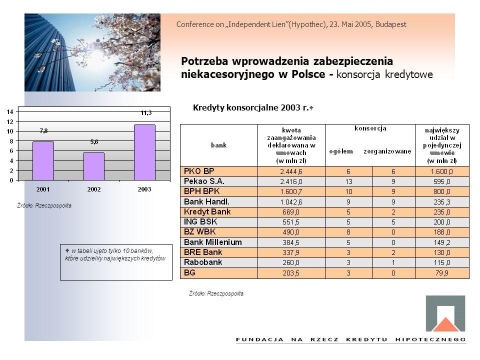 Potrzeba wprowadzenia zabezpieczenia niekacesoryjnego w Polsce - konsorcja kredytowe