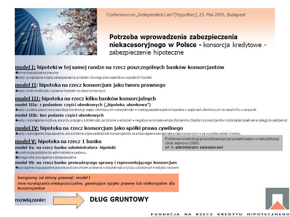 Potrzeba wprowadzenia zabezpieczenia niekacesoryjnego w Polsce - konsorcja kredytowe - zabezpieczenie hipoteczne