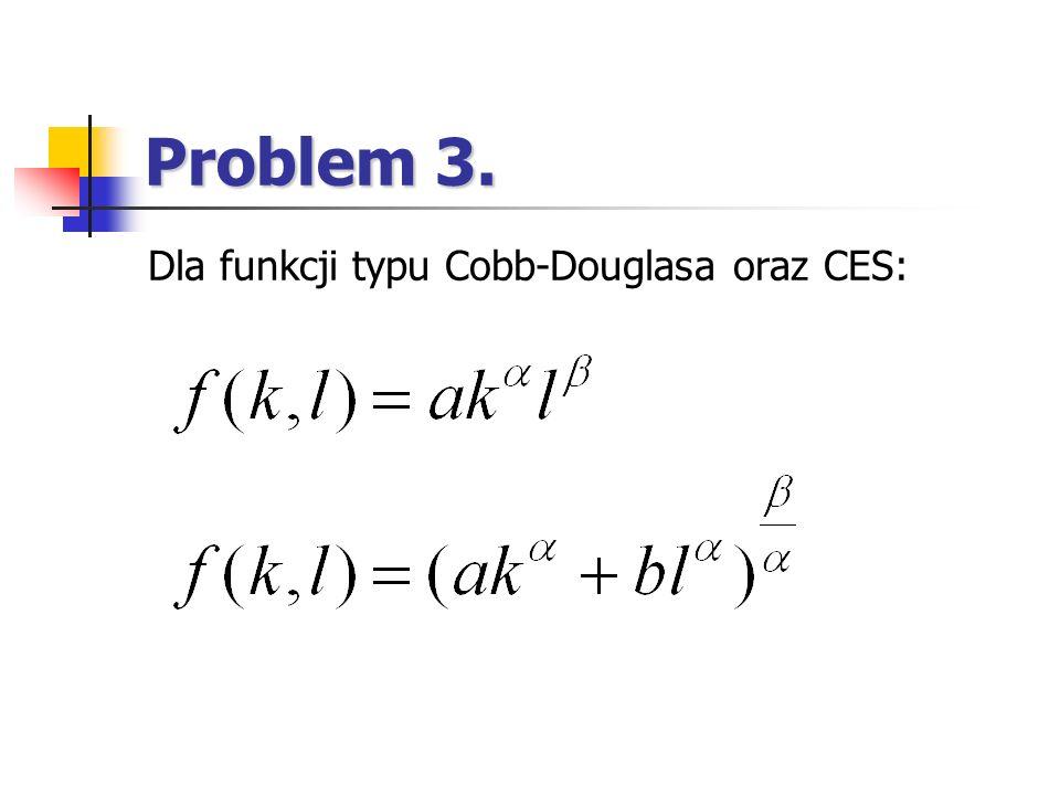 Problem 3. Dla funkcji typu Cobb-Douglasa oraz CES: