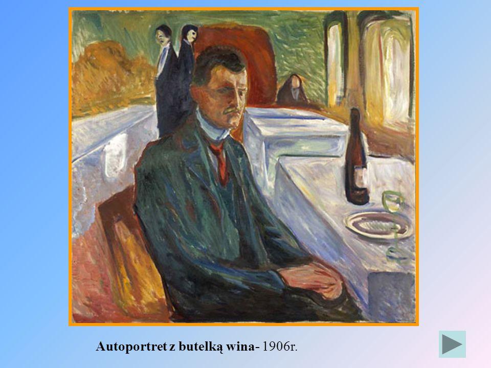 Autoportret z butelką wina- 1906r.