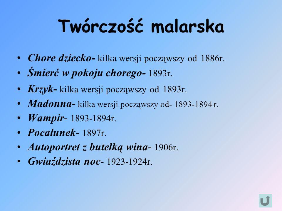 Twórczość malarska Chore dziecko- kilka wersji począwszy od 1886r.